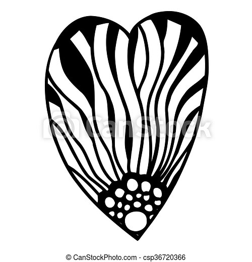 Vector Heart Shaped Pattern For Coloring Book Ethnic Retro Design In Zentangle Style With Floral Elementsblack Line Art On White Background Hand