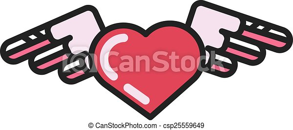 Vector heart with wings icon - csp25559649