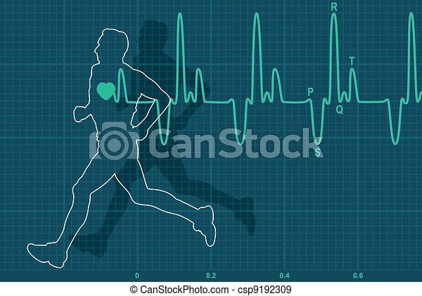 Heartbeat Line Art : Vector heartbeat electrocardiogram and running man eps