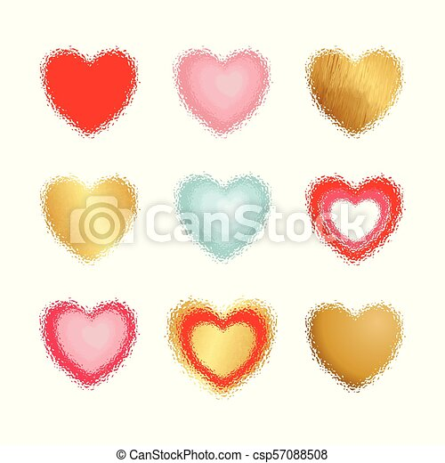 Vector hearts set for wedding and valentine design - csp57088508