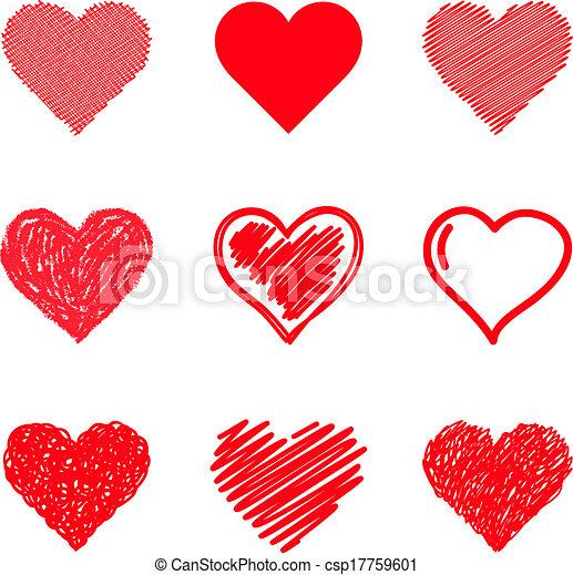 Vector hearts set. Hand drawn. - csp17759601