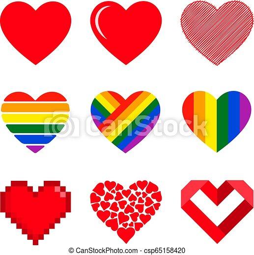 Vector hearts set. - csp65158420