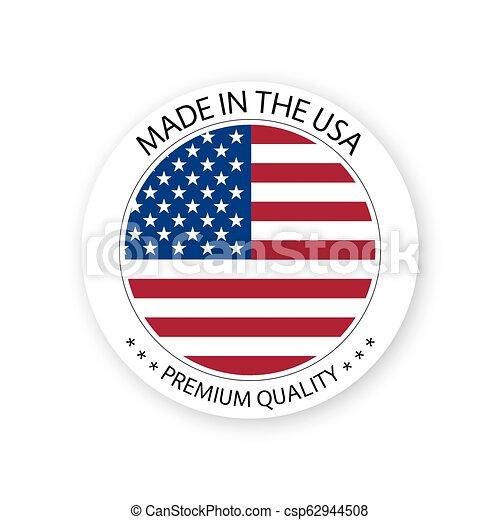 Vector moderno hecho en la etiqueta de EE.UU. aislado en fondo blanco, simple pegatina con colores americanos, diseño de sellos de calidad premium, bandera de EE.UU - csp62944508