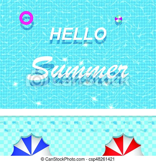 Vector hello summer lettering on swimming pool for banner vector vector hello summer lettering on swimming pool for banner brochure and invitation design stopboris Images