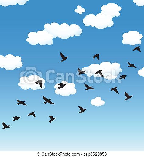 vector, hemel het vliegen, wolken, vogels - csp8520858