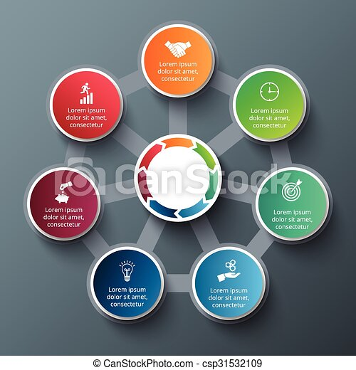 Vector heptagon with circles for infographic. - csp31532109