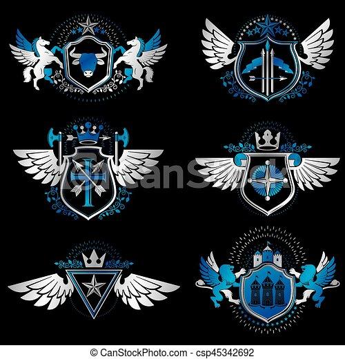 Plantas de diseño de heraldo antiguo, vectores creados con alas de pájaro, coronas, estrellas, armería e ilustraciones de animales. La colección de símbolos clásicos. - csp45342692