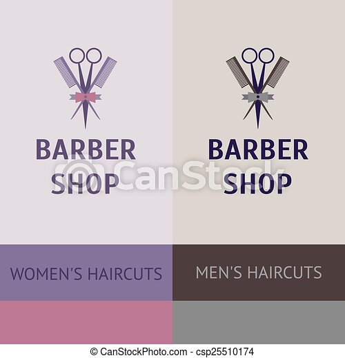 Vector heraldic logo for a hairdressing salon. Business card and banner. Template for corporate style barbershop. Status and elegance. barbershop for men and women - csp25510174