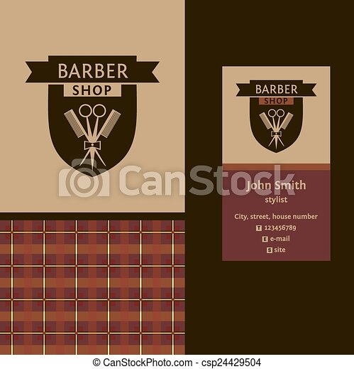 Vector heraldic logo for a hairdressing salon. Business card. Template for corporate style barbershop. Status and elegance - csp24429504