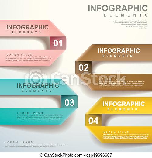 vector, het vouwen, abstract, etiket, infographic, communie - csp19696607