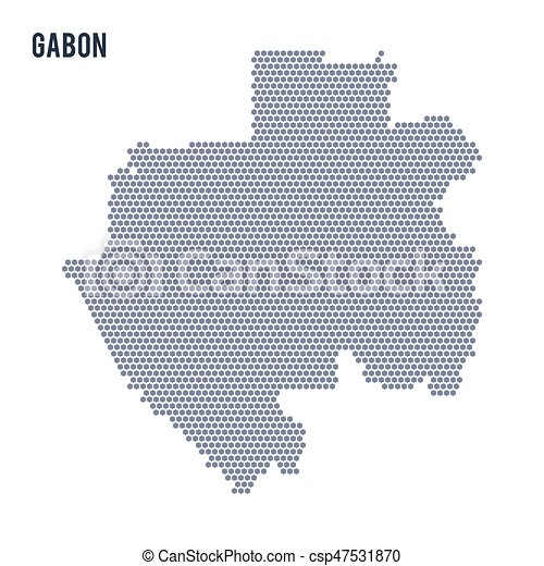 Vector hexagon map of Gabon on a white background
