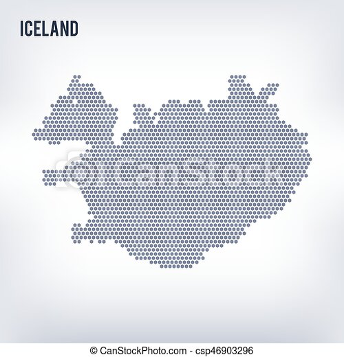 Vector hexagon map of Iceland on a gray background