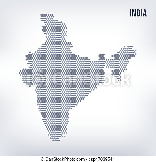 Vector hexagon map of India on a gray background
