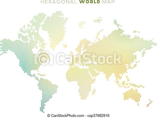 Vector hexagonal world map vector abstract world map made of small vector hexagonal world map gumiabroncs Gallery