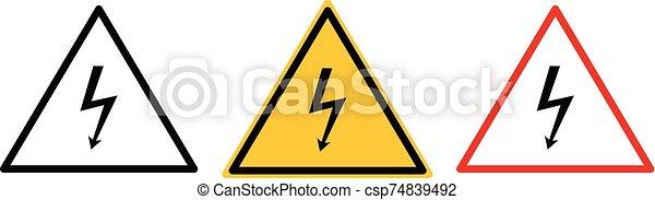 Vector high voltage warning sign. Warning icon. - csp74839492