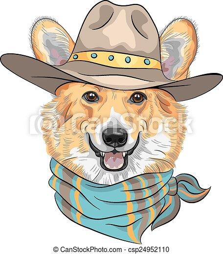 vector Hipster dog Pembroke Welsh corgi  - csp24952110