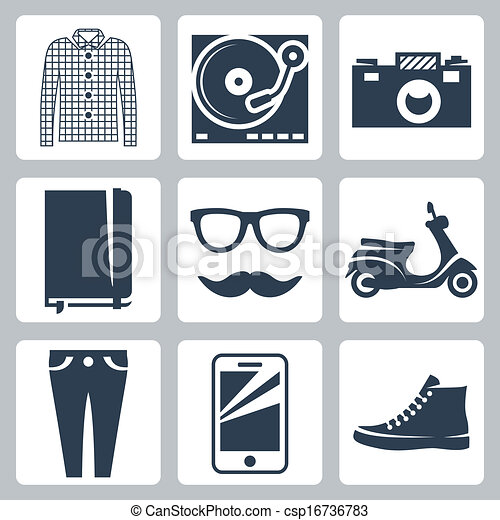 Vector hipster icons set: check shirt, record player, camera, writing pad, glasses, mustache, scooter, skinny jeans, smartphone, sneakers - csp16736783