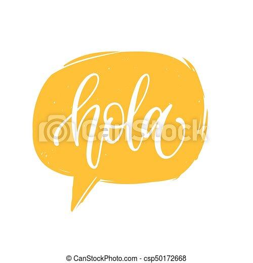 vector hola calligraphy spanish translation of hello phrase hand rh canstockphoto com hola clipart free hula girl clipart