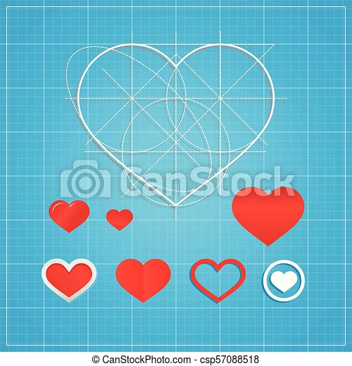 Vector holiday card hearts on blueprint paper valentines day concept hearts on blueprint paper valentines day concept malvernweather Gallery