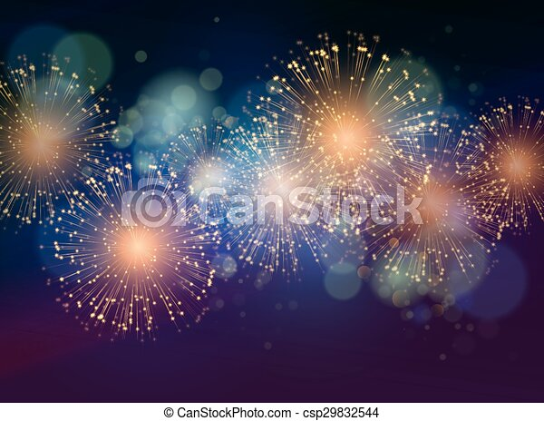 Vector Holiday Fireworks Background - csp29832544