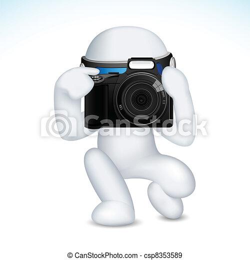 Hombre 3D en vector con cámara - csp8353589