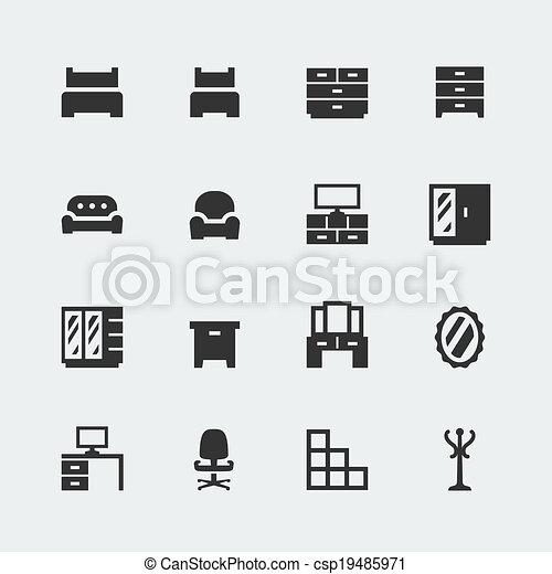 Vector home furniture mini icons set #1 - csp19485971