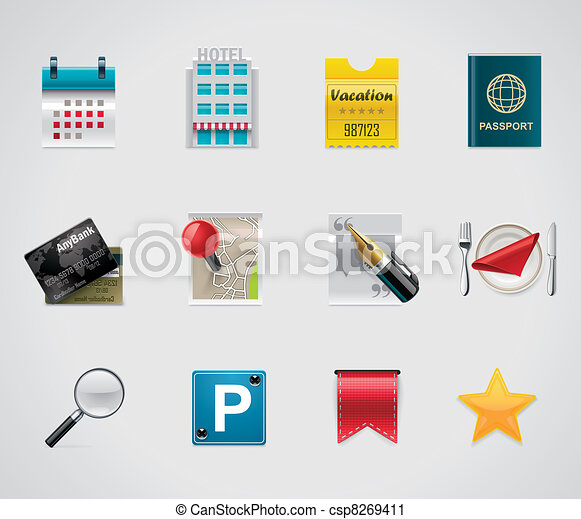 Vector hotel and traveling icons - csp8269411