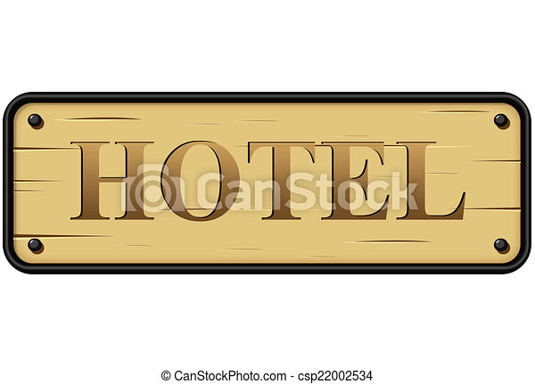Vector Hotel Sign Illustration Of Rustic Wood On