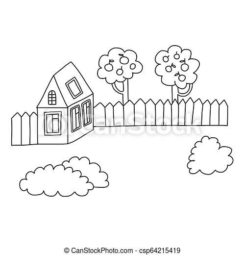 Vector House Coloring Page Book Kids Drawing Style Vector House