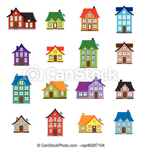 Vector House Icons Set Colourful Home Icon Collection Flat Design