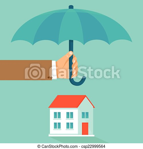 Vector house insurance concept in flat style - csp22999564