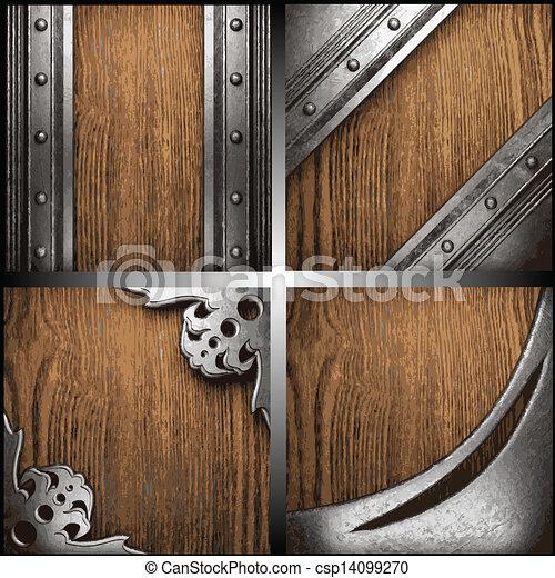 vector, hout, set, metaal, achtergrond - csp14099270