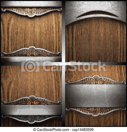 vector, hout, set, metaal, achtergrond - csp14483599