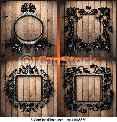 vector, hout, set, retro, lijstjes - csp14068550