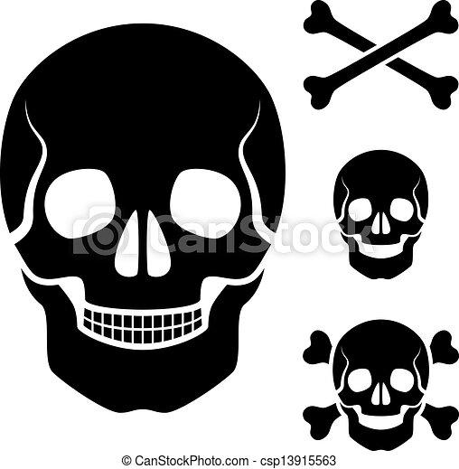 vector human skull cross bones symbol - csp13915563