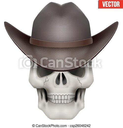 Vector Human skull with cowboy hat on head - csp26046242