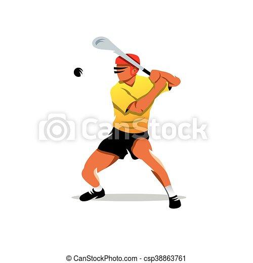 Vector hurling player Cartoon Illustration. - csp38863761