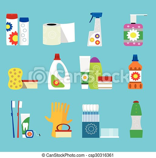 Vector hygiene and cleaning products  icons. - csp30316361