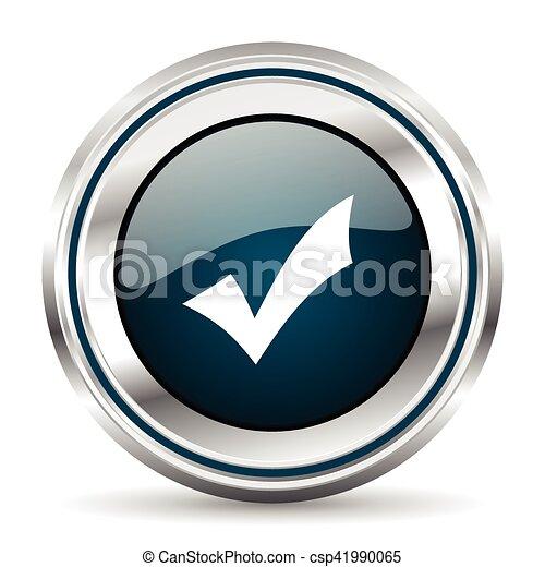 Vector icon. Chrome border round web button. Silver metallic pushbutton. - csp41990065