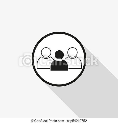 vector icon group of people with a long shadow on the background - csp54219752