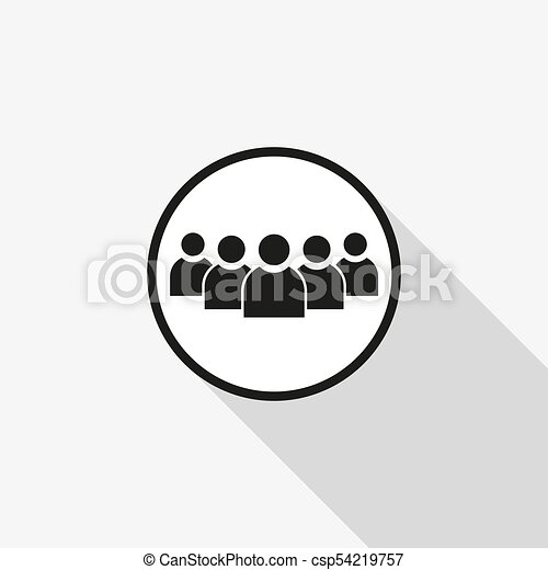 vector icon group of people with a long shadow on the background - csp54219757
