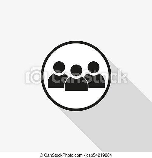 vector icon group of people with a long shadow on the background - csp54219284