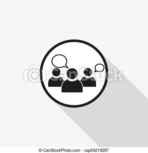 vector icon group of people with a long shadow on the background - csp54219287
