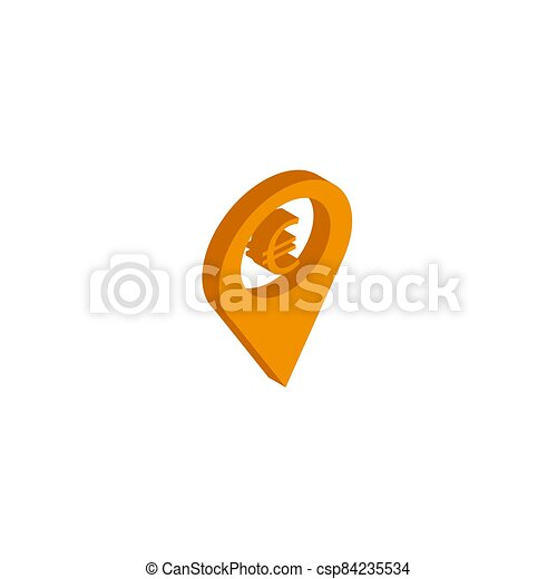 Vector icon map Icons markers. isometric. 3d sign isolated on white background. - csp84235534