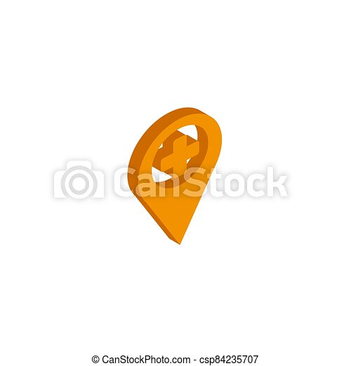 Vector icon map Icons markers. isometric. 3d sign isolated on white background. - csp84235707
