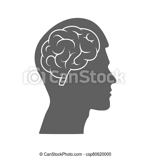Vector icon of a male head with a brain. The silhouette is isolated on a white background. - csp80620000