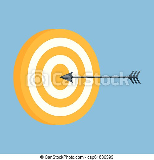 Vector icon of a target with an arrow. - csp61836393