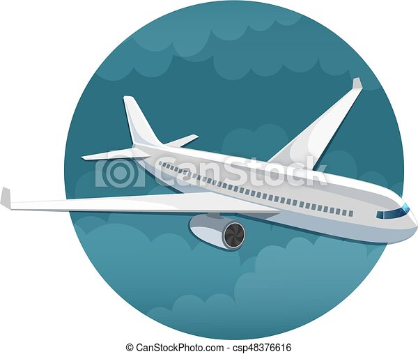 Vector icon of airplane side view - csp48376616