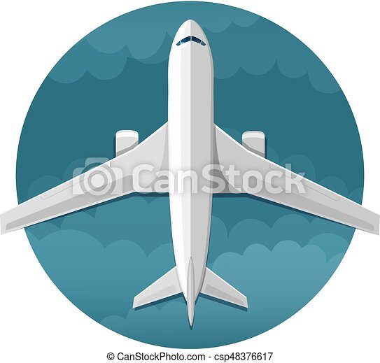 Vector icon of airplane top view - csp48376617
