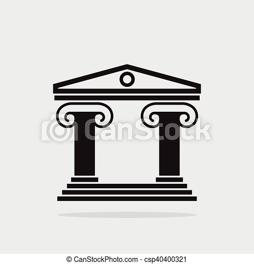 Vector Icon Of Ancient Greek Architecture Building With Columns